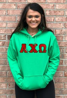 DISCOUNT Alpha Chi Omega Lettered Hooded Sweatshirt