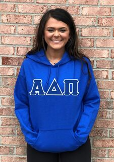 DISCOUNT Alpha Delta Pi Lettered Hooded Sweatshirt