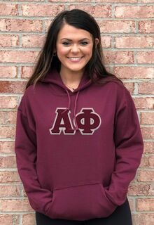 DISCOUNT Alpha Phi Lettered Hooded Sweatshirt