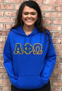 DISCOUNT Alpha Phi Omega Lettered Hooded Sweatshirt