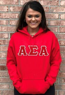 DISCOUNT Alpha Sigma Alpha Lettered Hooded Sweatshirt