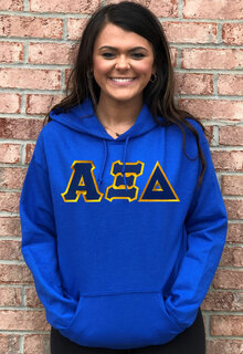 DISCOUNT Alpha Xi Delta Lettered Hooded Sweatshirt
