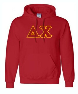 DISCOUNT Delta Chi Lettered Hooded Sweatshirt