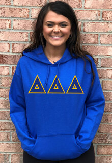 DISCOUNT Delta Delta Delta Lettered Hooded Sweatshirt