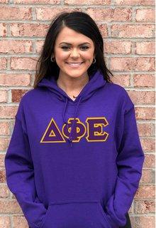 DISCOUNT Delta Phi Epsilon Lettered Hooded Sweatshirt