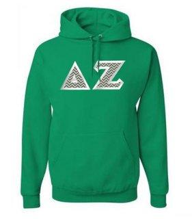 Delta Zeta Custom Twill Hooded Sweatshirt