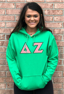 DISCOUNT Delta Zeta Lettered Hooded Sweatshirt