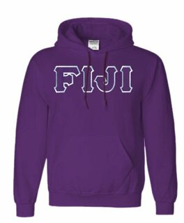 DISCOUNT FIJI Fraternity Lettered Hooded Sweatshirt