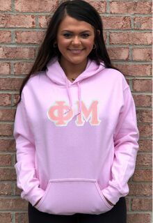 $39.99 Phi Mu Lettered Hooded Sweatshirt