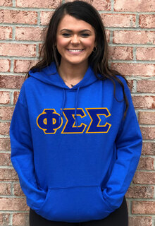 DISCOUNT Phi Sigma Sigma Lettered Hooded Sweatshirt
