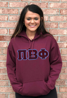 DISCOUNT Pi Beta Phi Lettered Hooded Sweatshirt