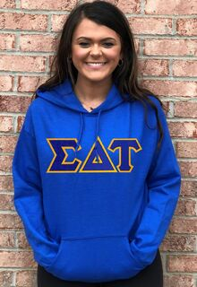 DISCOUNT Sigma Delta Tau Lettered Hooded Sweatshirt