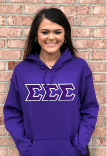 DISCOUNT Sigma Sigma Sigma Lettered Hooded Sweatshirt