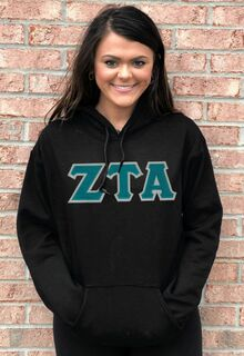 DISCOUNT Zeta Tau Alpha Lettered Hooded Sweatshirt