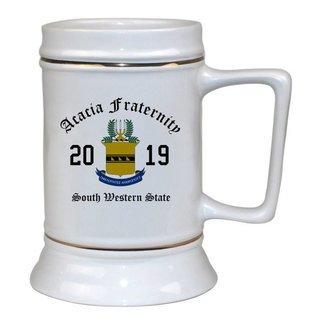 ACACIA Ceramic Crest & Year Ceramic Stein Tankard - 28 ozs!