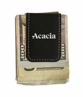 ACACIA Greek Letter Leatherette Money Clip