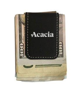 ACACIA Greek Letter Leatherette Money Clip