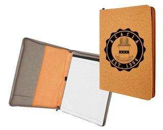 Acacia Leatherette Zipper Portfolio with Notepad