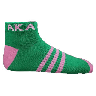 AKA Ankle Socks - Green With Pink