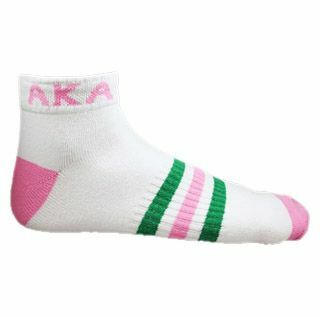 AKA Ankle Socks - White With Pink & Green
