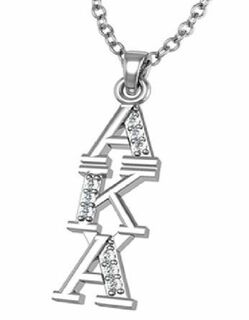 AKA Sterling Silver Lavaliere set with Lab-Created Diamonds
