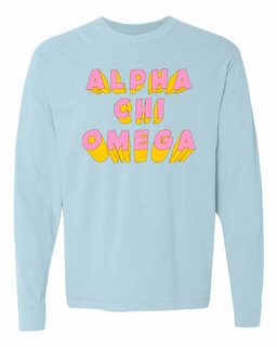 Alpha Chi Omega 3Delightful Long Sleeve T-Shirt - Comfort Colors