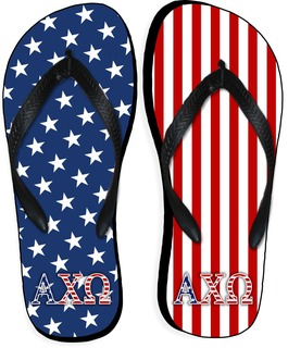 28b0f0664b16 Phi Mu Striped Flip Flops SALE  28.95. - Greek Gear®