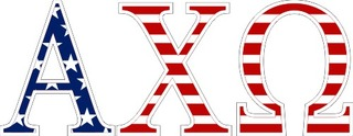 "Alpha Chi Omega American Flag Greek Letter Sticker - 2.5"" Tall"