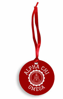 Alpha Chi Omega Christmas Crest - Shield Aluminum Ornament