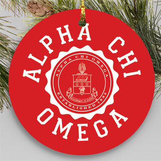 Alpha Chi Omega Round Christmas Shield Ornament