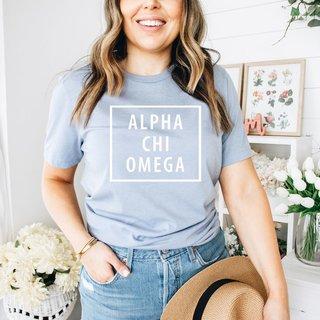 Alpha Chi Omega Comfort Colors Box Tee