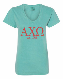 Alpha Chi Omega Comfort Colors Custom V-Neck T-Shirt