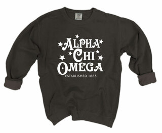 Alpha Chi Omega Comfort Colors Old School Custom Crew