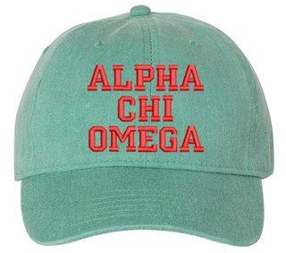 Alpha Chi Omega Comfort Colors Pigment Dyed Baseball Cap