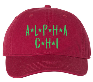 Alpha Chi Omega Comfort Colors Starry Night Pigment Dyed Baseball Cap