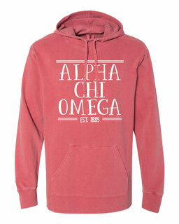 Alpha Chi Omega Comfort Colors Terry Scuba Neck Custom Hooded Pullover