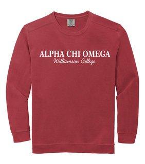 Alpha Chi Omega Script Comfort Colors Greek Crewneck Sweatshirt