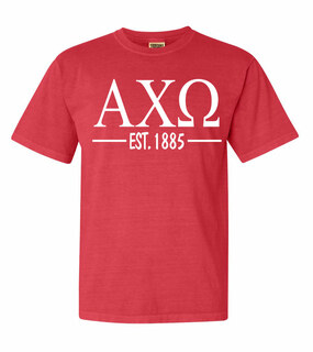 Alpha Chi Omega Custom Greek Lettered Short Sleeve T-Shirt - Comfort Colors
