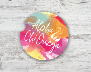 Alpha Chi Omega Sandstone Car Cup Holder Coaster