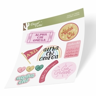 Alpha Chi Omega Cute Sticker Sheet