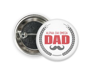 Alpha Chi Omega Dadstache Button