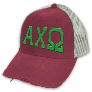 Alpha Chi Omega Distressed Trucker Hat