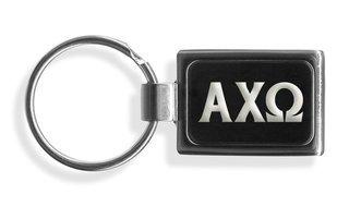 Alpha Chi Omega Engraved Chrome Keychains