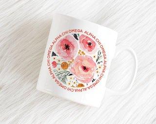 Alpha Chi Omega Floral Circle Mug