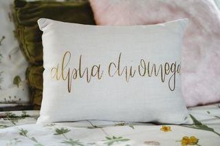 Alpha Chi Omega Gold Imprint Throw Pillow