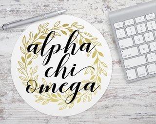 Alpha Chi Omega Gold Wreath Mousepad