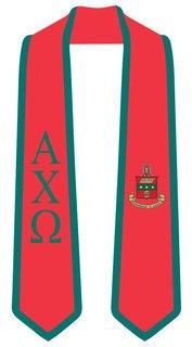 DISCOUNT-Alpha Chi Omega Greek 2 Tone Lettered Graduation Sash Stole