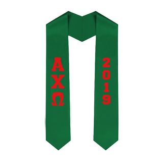 Alpha Chi Omega Greek Lettered Graduation Sash Stole With Year - Best Value