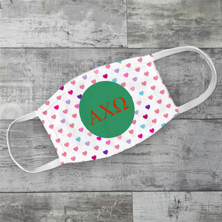 Alpha Chi Omega Hearts Face Mask