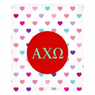 Alpha Chi Omega Hearts Fleece Blanket